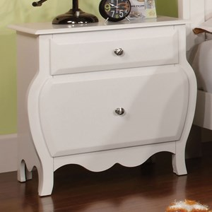 Transitional Night Stand with Curved Design