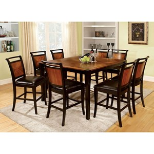 Transitional Two Tone Nine Piece Counter Height Dining Set