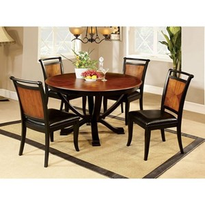 Transitional Two Tone Dining Set with Round Table and Four Chairs