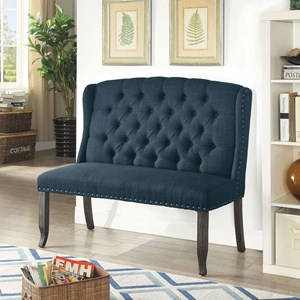 Transitional Love Seat Upholstered Bench with Tufted Back and Nailhead Trim