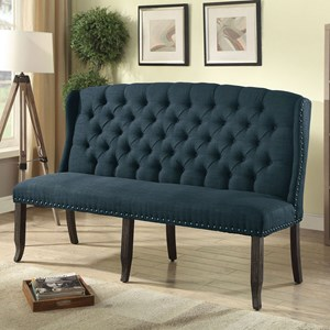 Transitional 3-Seater Upholstered Bench with Tufted Back and Nailhead Trim