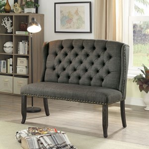 Transitional Upholstered Love Seat Bench with Tufted Back and Nailhead Trim