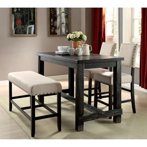 Rustic 4 Piece Counter Height Dining Set with Bench