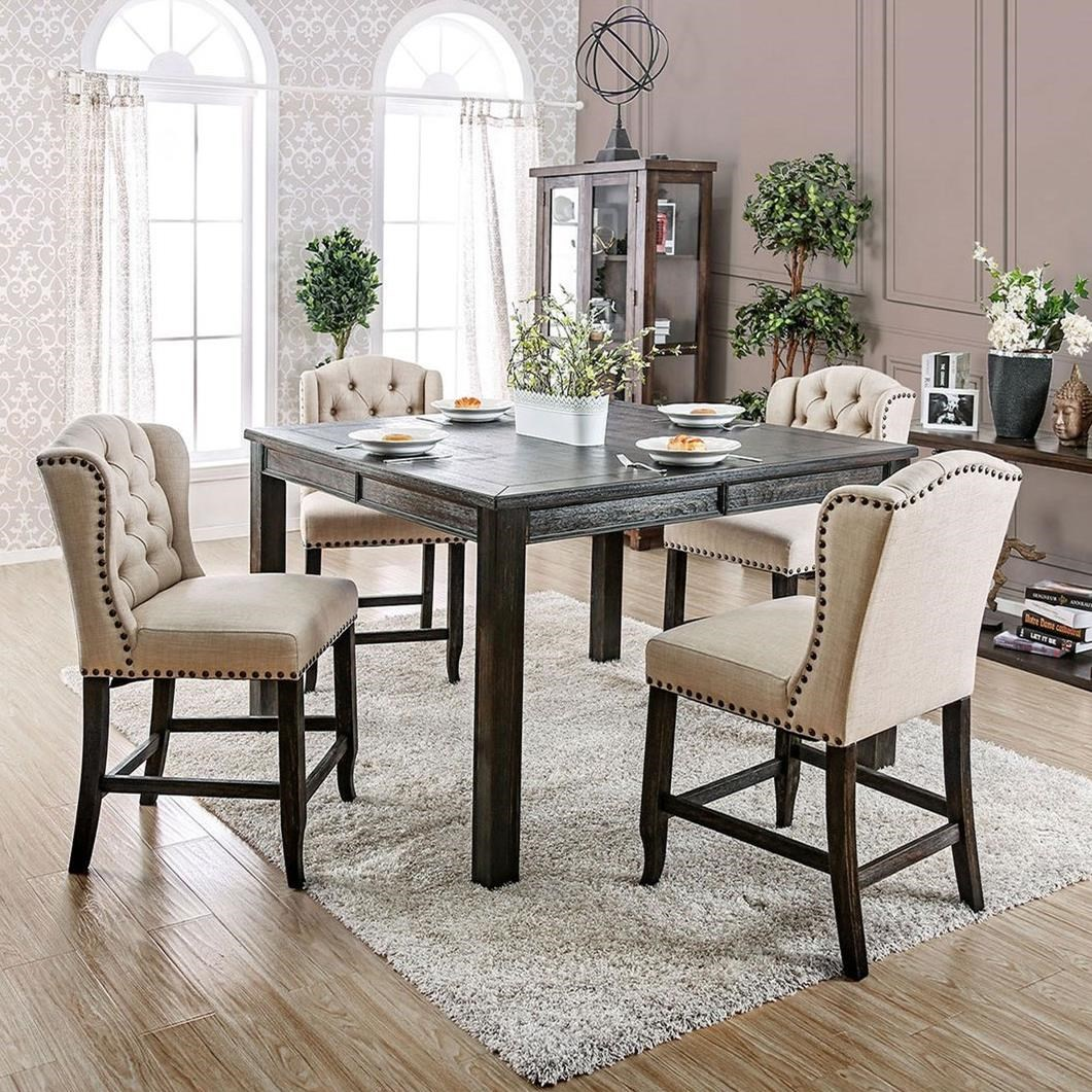 Sania III 5 Piece Counter Height Dining Set by Furniture of America at Nassau Furniture and Mattress