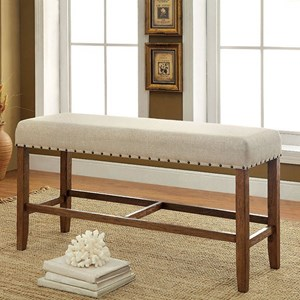 Rustic Counter Height Bench wit Nailhead Trim