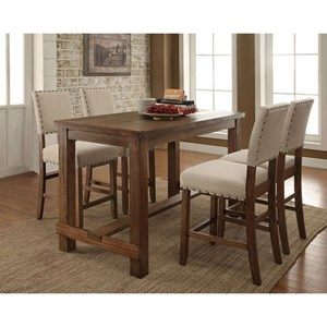 Rustic 5 Piece Dining Set with Nailhead Trim