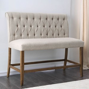 Rustic Counter Height Upholstered Bench with Tufted Back