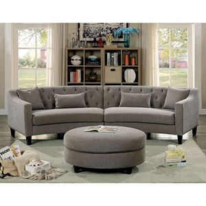 Contemporary Curved Sectional with Track Arms and Ottoman