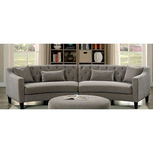 Contemporary Curved Sectional with Track Arms