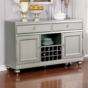 Contemporary Server with Storage and Wine Rack