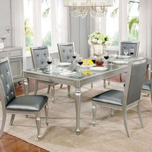 Contemporary Dining Table with Embossed Top and Leaf