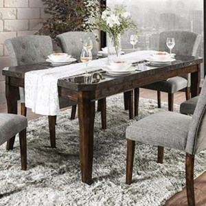 Transitional Dining Table with Stone Top