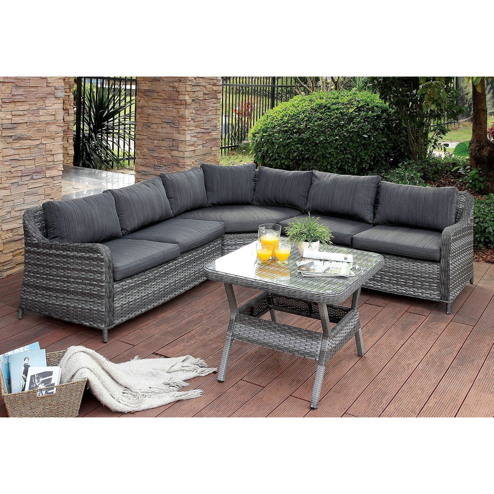 Selina Patio Sectional w/ Table by Furniture of America at Corner Furniture