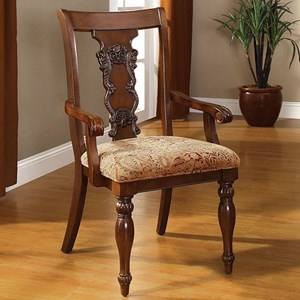 Set of 2 Traditional Arm Chairs with Upholstered Seat