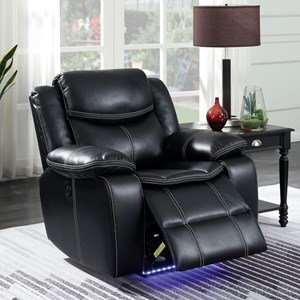 Contemporary Power Recliner with LED Lighting