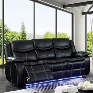 Contemporary Power Reclining Sofa with LED Lighting