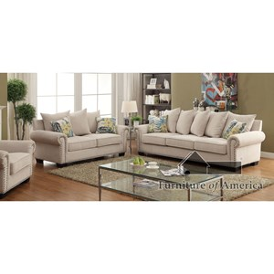 Transitional 3 Piece Living Room Set with Sofa, Loveseat, Chair