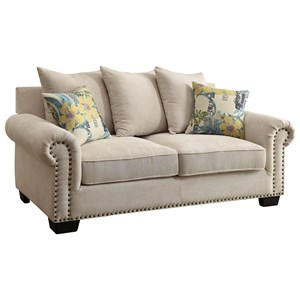 Transitional Loveseat with Scattered Back Pillows and Nailhead Trim