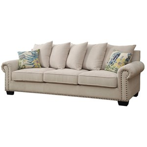 Transitional Sofa with Scattered Back Pillows and Nailhead Trim