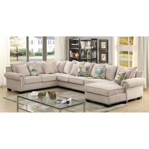 4 Piece Sectional Sofa with Scattered Back Pillows and Nailhead Trim