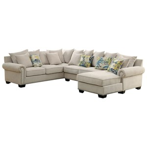 3 Piece Sectional Sofa with Scattered Back Pillows and Nailhead Trim