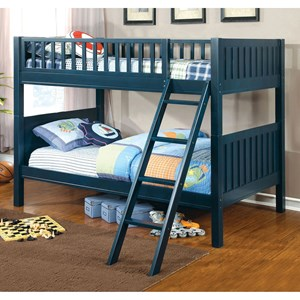 Navy Blue Youth Bedroom Twin Over Twin Bunk Bed