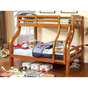 Casual Youth Bedroom Twin Over Full Bunk Bed with Trundle