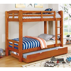 Casual Youth Bedroom Twin Over Twin Bunk Bed with Trundle