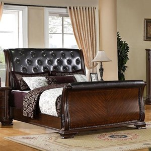 Traditional Queen Sleigh Bed with Tufting Headboard