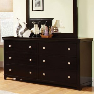 Transitional Six Drawer Dresser