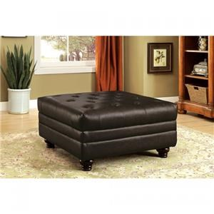 Brown Leatherette Ottoman w/Deep Button Tufting
