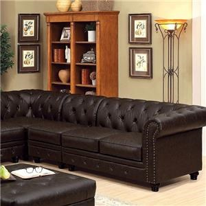 Brown Leatherette Sectional Group w/Deep Button Tufting