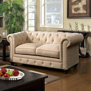 Transitional Loveseat with Tufted Back