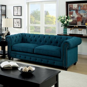 Transitional Sofa with Tufted Back and Rolled Arms