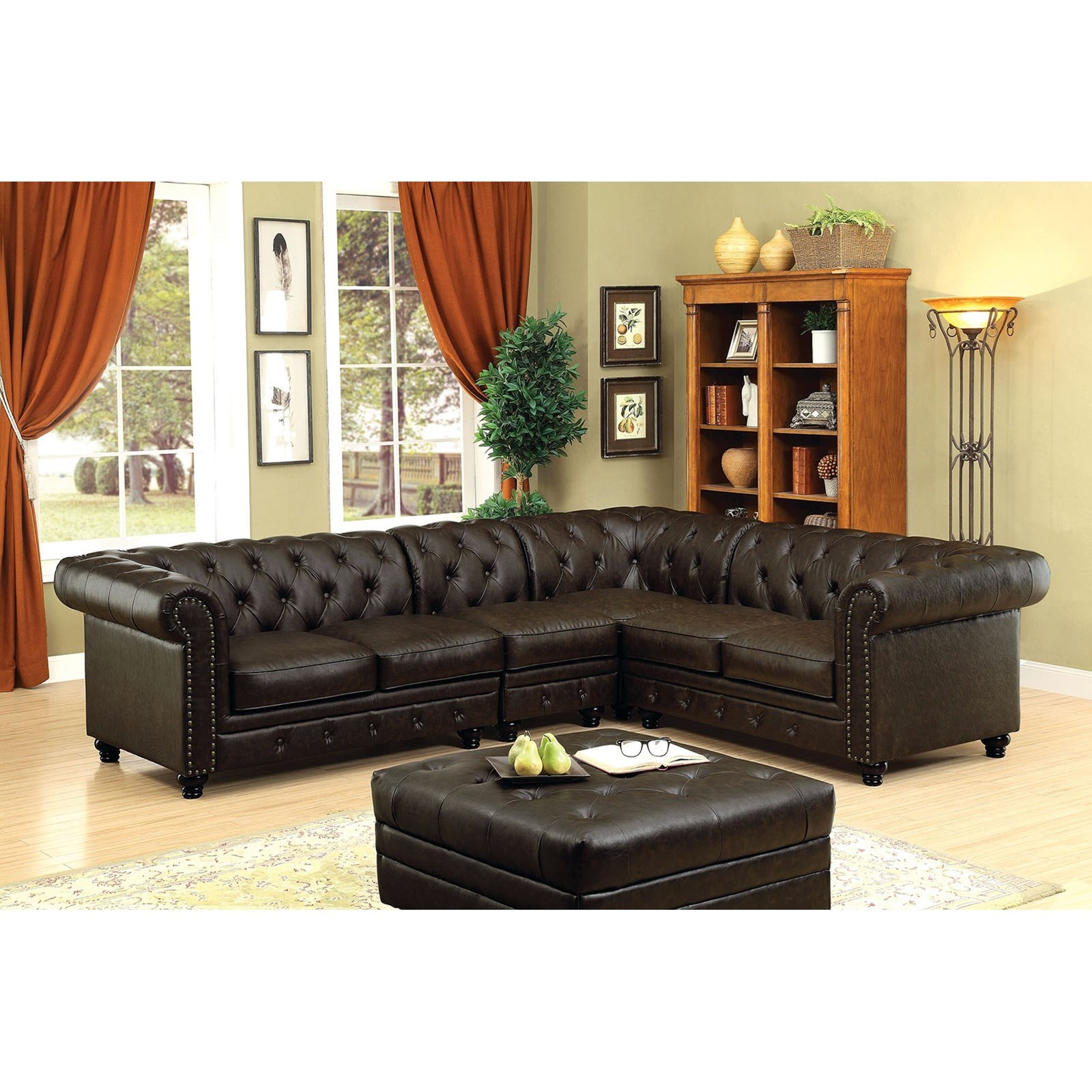Stanford Sectional Leatherette by Furniture of America at Nassau Furniture and Mattress