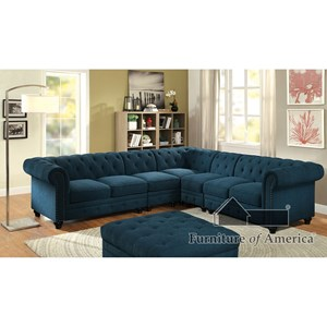 Transitional Sectional with Tufted Back and Rolled Arms
