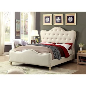 Glam California King Bed with Button Tufted Headboard