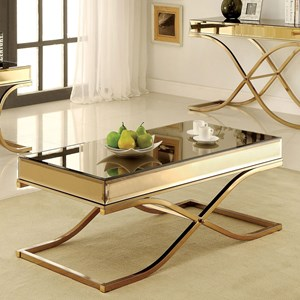 Mirrored Coffee Table with Metal Frame