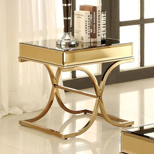 Mirrored End Table with Metal Frame