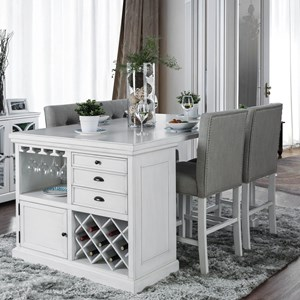 Counter Height Table with Wine Storage