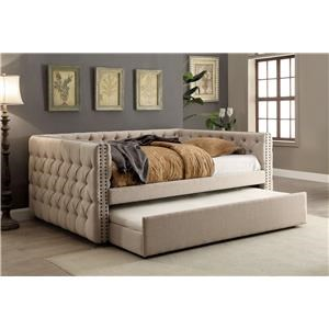 Contemporary Style Ivory Button Tufted Full Daybed w/Twin Trundle