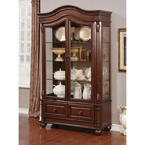 Traditional Hutch & Buffet with Built-In Lighting
