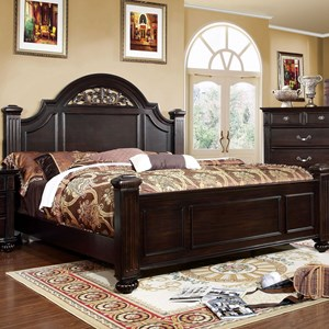 Traditional Queen Bed with Shaped Headboard