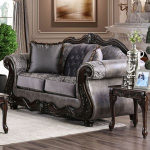 Traditional Love Seat with Ornate Wood Trim and Button Tufting