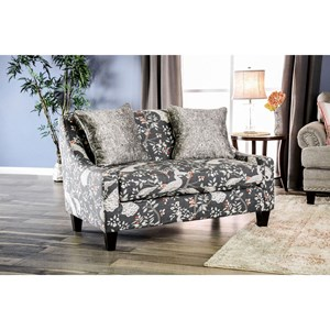 Transitional Settee with Sloped Track Arms