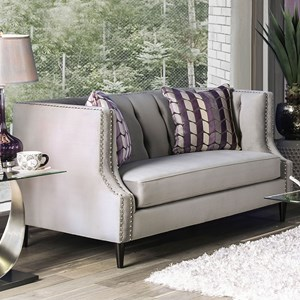 Transitional Love Seat with Nailhead Trim and Button Tufting