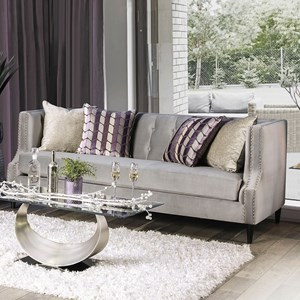 Transitional Sofa with Nailhead Trim and Button Tufting