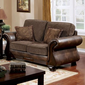 Traditional Two Tone Loveseat with Leatherette and Carved Wood Trim