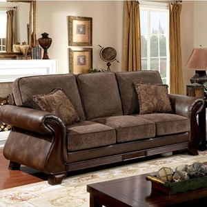 Traditional Two Tone Sofa with Leatherette and Carved Wood Detail