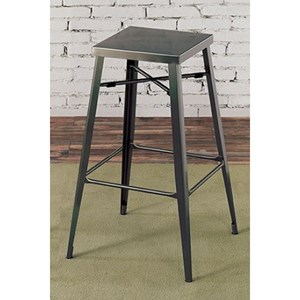 Industrial Pack of 2 Bar Height Metal Stools